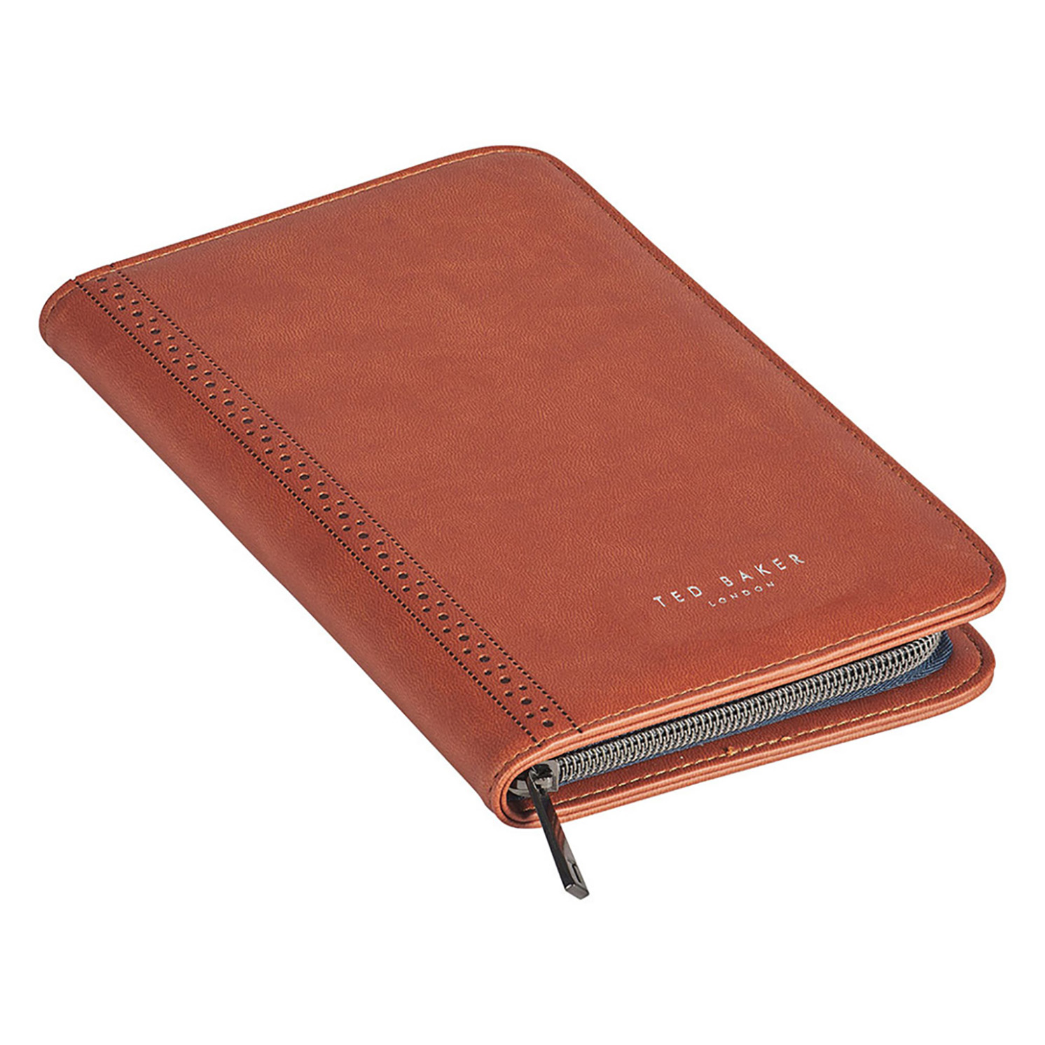 Ted Baker – Tan Brogue Travel Documents Holder/Organiser with Pen