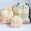 Yvonne Ellen – Zebra & Elephant 3 Piece Cotton Bag Travel Set