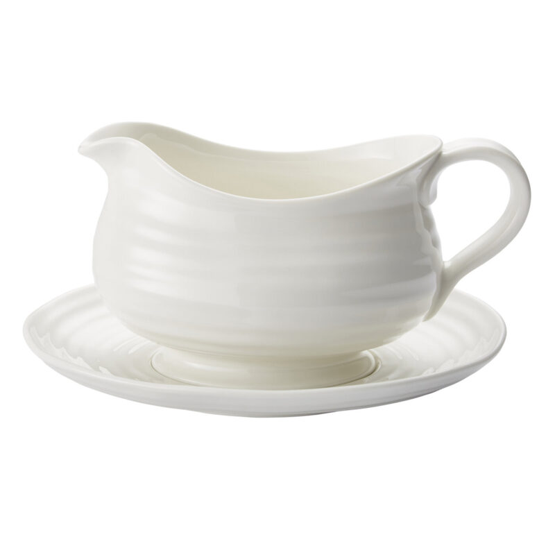 Sophie Conran for Portmeirion – White Gravy Boat and Stand in Gift Box