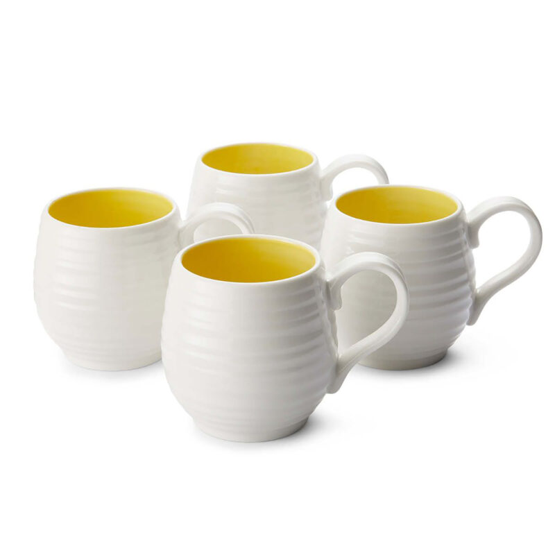 Sophie Conran for Portmeirion – Set of 4 Honey Pot Sunshine Barrel Mugs in Box