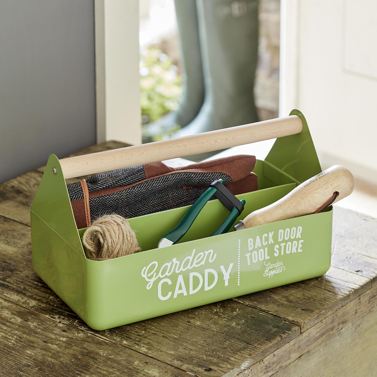 Burgon & Ball – Gooseberry Coloured Garden Caddy with Beech Wood Handle