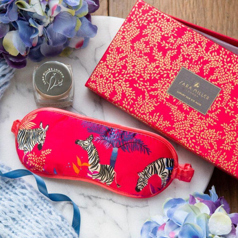 Sara Miller – Red Tahiti Zebra Silk Eye Mask in Presentation Gift Box