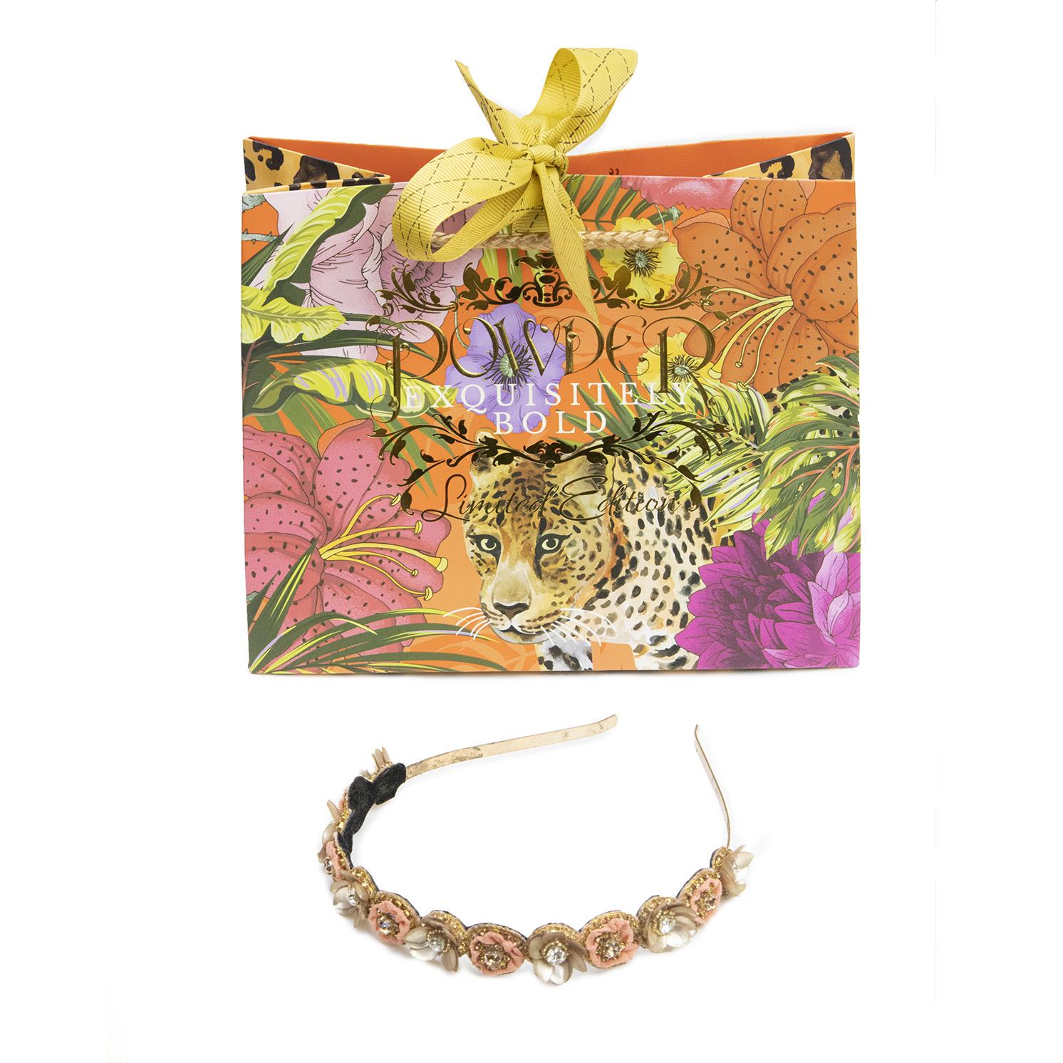 Powder – Coral Fleur Headband with Powder Presentation Gift Bag