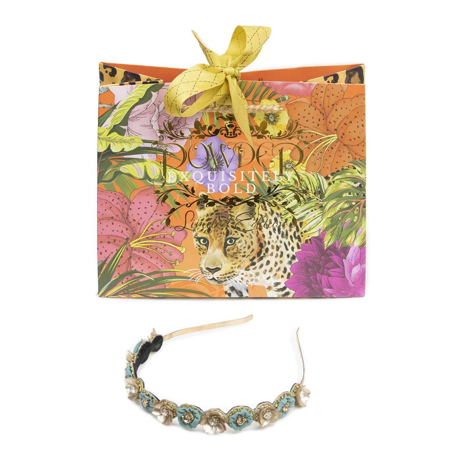 Powder – Teal Fleur Headband with Powder Presentation Gift Bag