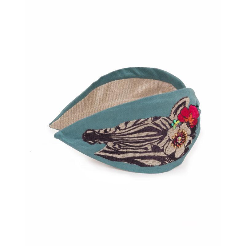 Powder – Blue Floral Zebra Headband with Powder Presentation Gift Bag
