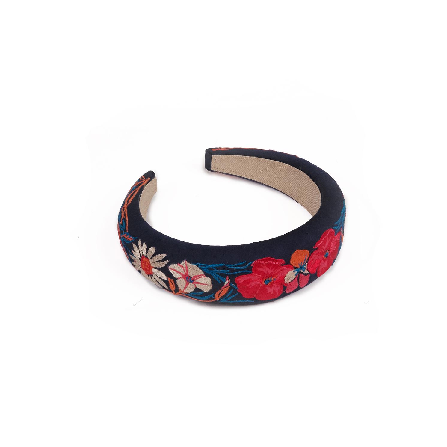 Powder – Navy Country Garden Padded Headband with Powder Presentation Gift Bag
