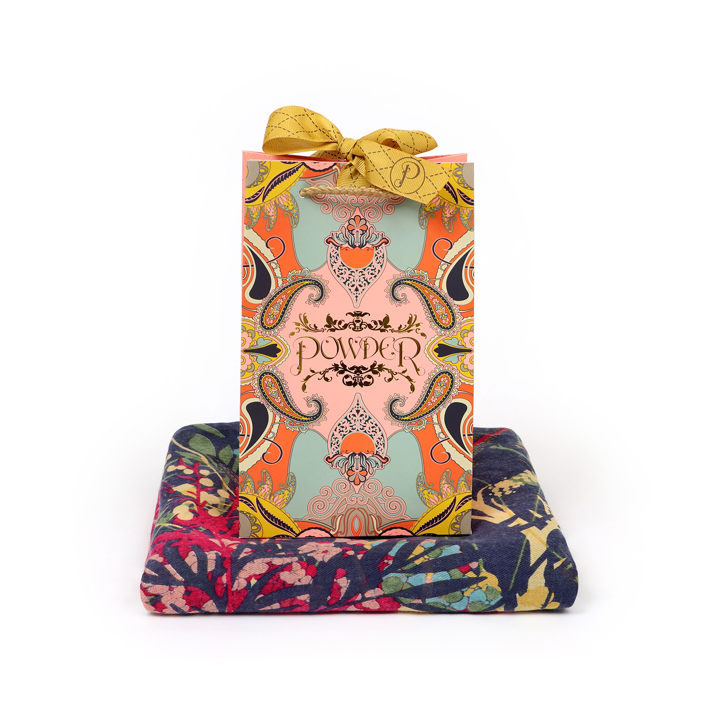 Powder – Cottage Garden Print Scarf with Powder Presentation Gift Bag