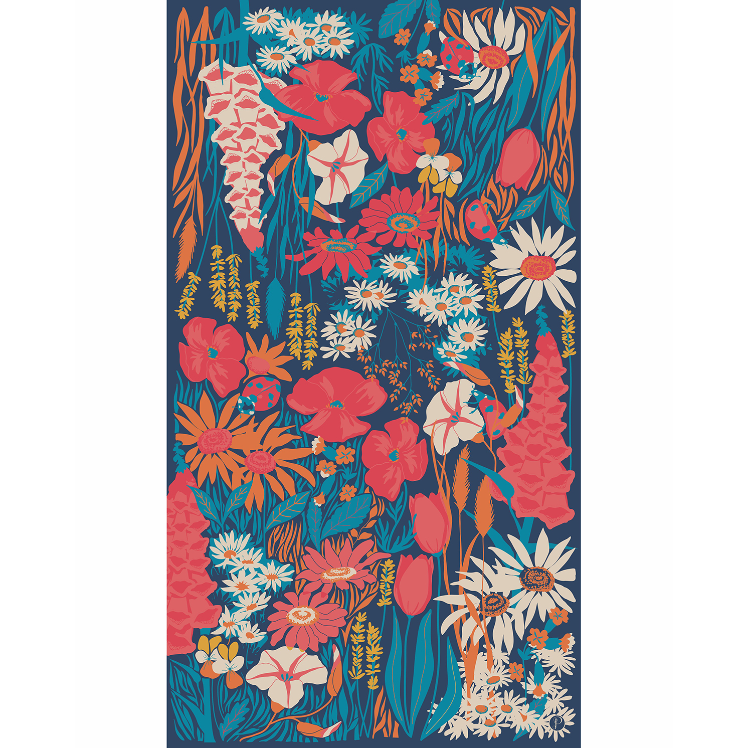 Powder – Navy Country Garden Print Scarf with Powder Presentation Gift Bag
