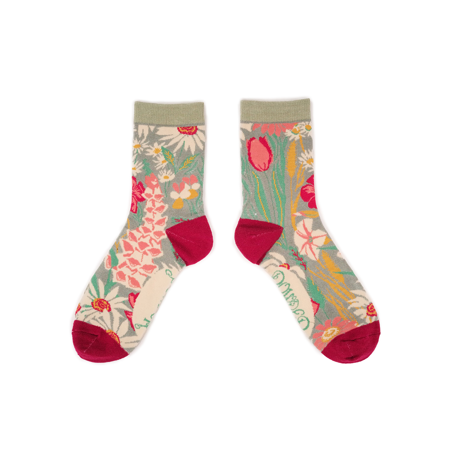 Powder – Mint Country Garden Ankle Socks with Presentation Gift Bag