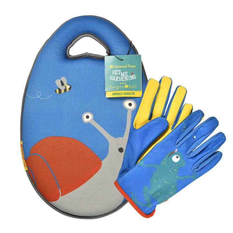 Burgon & Ball – National Trust Children's Snail Garden Kneeler with Frog Gloves