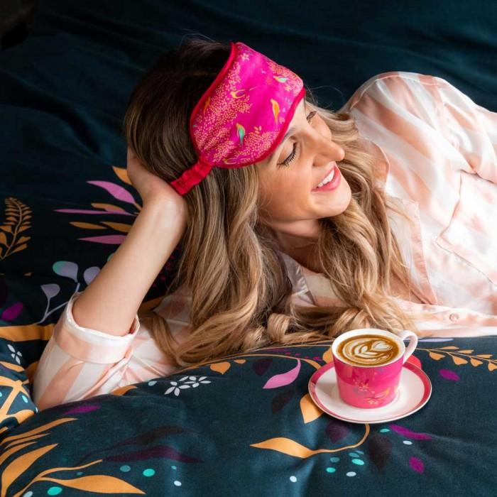 Sara Miller – Pink Birds in a Tree Silk Eye Mask in Presentation Box