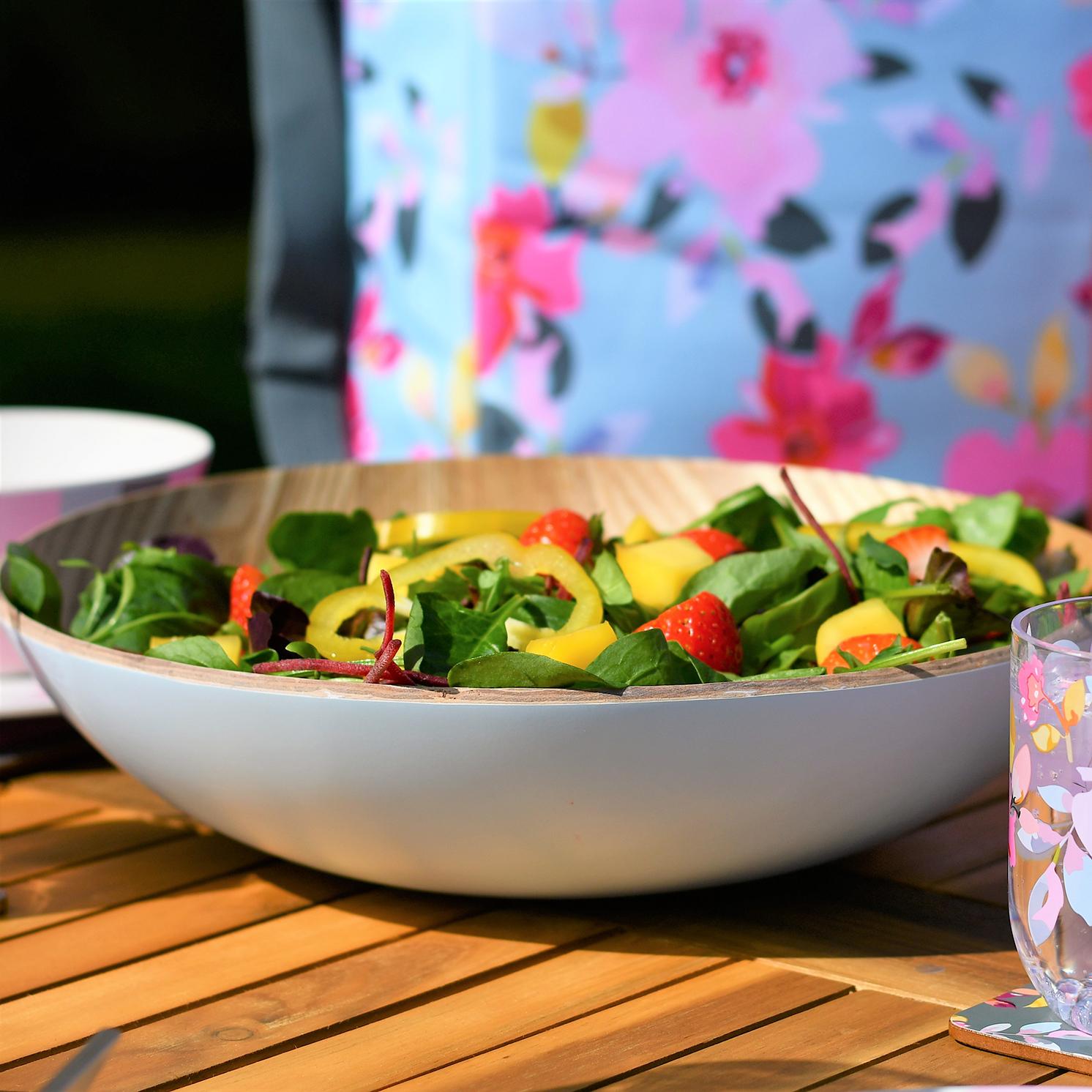 Navigate – Summerhouse Sky Blue Willow Wood Salad/Serving Bowl