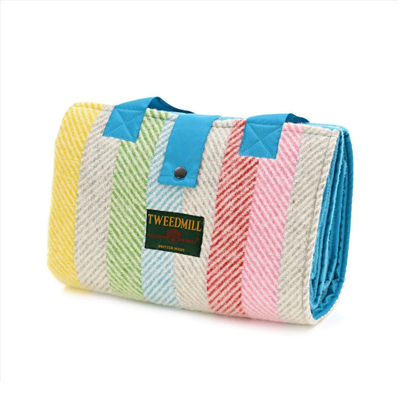 Tweedmill – Pure New Wool Rainbow Teal Stripe Leisure/Picnic Rug