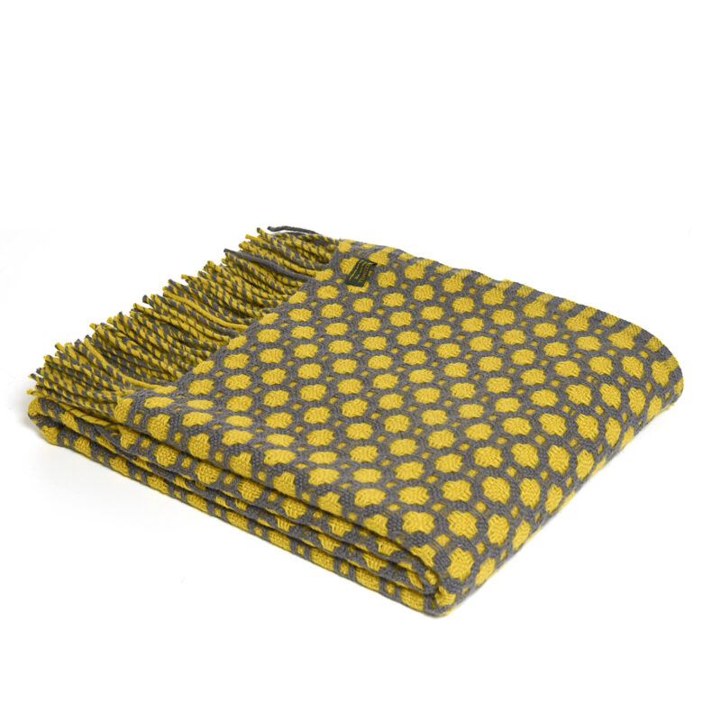Tweedmill – Solid Grey & Yellow Pure New Wool Crossroads Throw